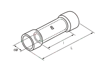 BV Insulated Butt Connectors Dimension