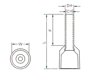 E Series Insulated Cord End Terminals Dimension