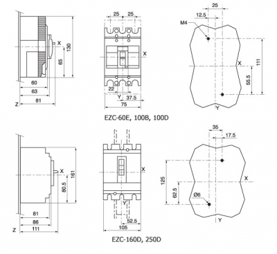EZC Series Overall & Installation Dimensions