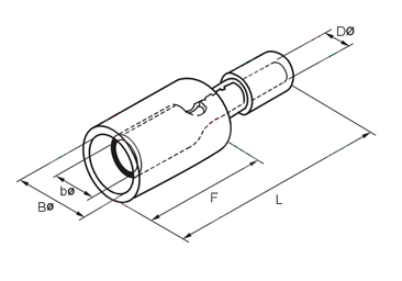 FRD Insulated Bullet Female Disconnects Dimension