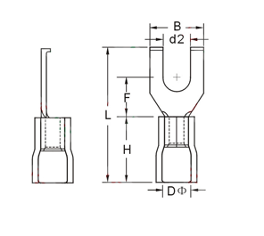 FSV Insulated Flange Spade Terminals Dimension