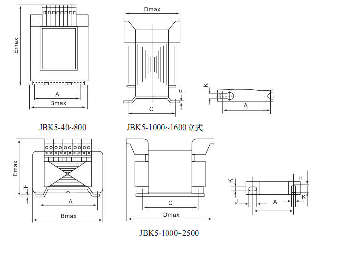 JBK5(BK) Control Transformers Overall Dimension