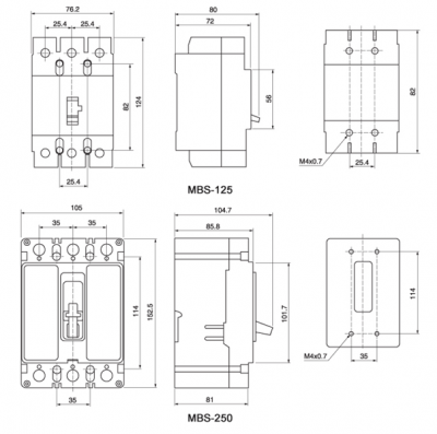 MBS series Overall & Installation Dimensions