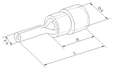 PTV Series Insulated Spade Terminals Dimension