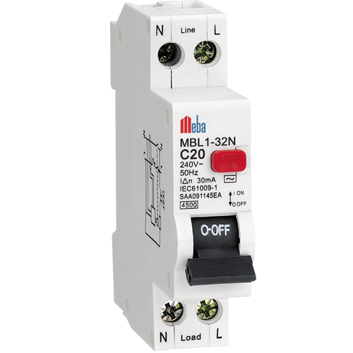 Meba AC C type rcbo residual current breakers with overload protection rccb MBL1-32N
