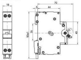 Hager Mini circuit breaker dimension