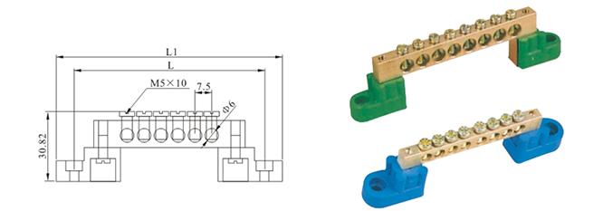 MBCT010H2G Copper Terminal Block Dimension