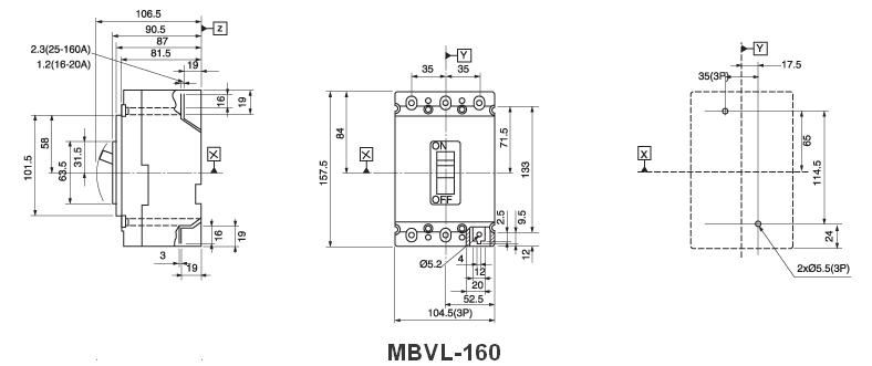 meba-mbvl-160-dimension